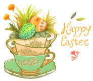 Easter card with watercolor flowers and eggs Royalty Free Stock Image