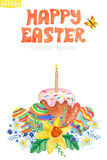Easter card.Watercolor Spring floral group,eggs Royalty Free Stock Images