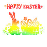Easter card.Watercolor stamps,rabbit,egg in basket Stock Photo