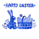 Easter card.Watercolor stamps,rabbit,egg in basket Royalty Free Stock Image