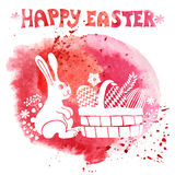 Easter card.Watercolor stamps,rabbit,egg in basket Royalty Free Stock Photos