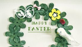 Easter card on a white background, with a colorful and minimalist decoration. royalty free stock photography