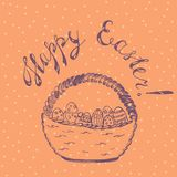 Easter Card with Wicker Basket. Easter Holiday Card with Handdrawn Wicker Basket full of Ornated Easter Eggs and Lettering. Colored background with Polka Dots Royalty Free Stock Images