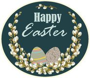 Easter card with willow twigs against dark background. Vector illustration Stock Images