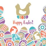 Easter Card With Frame Of Color Easter Eggs Decorated With Flowers, Leafs And Rabbits Over White Background. Easter Holidays Desig Royalty Free Stock Photos