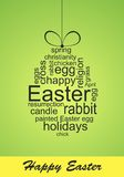 Easter card with wordcloud. Green Easter card with word cloud egg shape Royalty Free Stock Photos