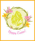 Easter card with wreath of crocuses Royalty Free Stock Image