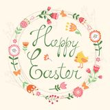 Easter card with wreath Royalty Free Stock Image
