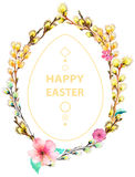 Easter card with wreath of willow Stock Images