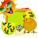 Yellow chicken in egg. Sun and rainbow. Royalty Free Stock Photo