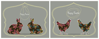 Easter Cards With Bunnies and Chickens. Vector set of two Easter greeting cards with bunnies and chickens Stock Image