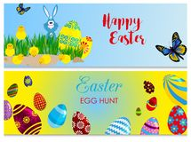 Easter cards bunny chickens eggs and flower illustration. Royalty Free Stock Photography