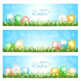Easter cards with colorful eggs Stock Images