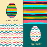 Easter cards, easter eggs. Colorful seamless patterns included in file. Vector illustration in eps10 format Royalty Free Stock Photos