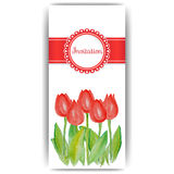 Easter cards with spring flowers - tulips. Invitation card with red tulips. Template of card with tulips garden. Poster with floral pattern for Easter. Wedding Royalty Free Stock Photo
