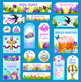 Easter cards, tags, banners vector greeting set Royalty Free Stock Image
