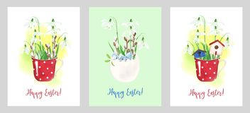 Easter cards templates with watercolor illustrations stock illustration
