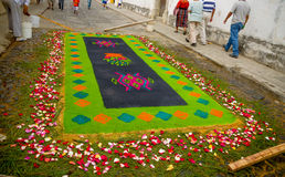 Easter carpets in antigua guatemala. Colorful handmade easter carpets made from colored sawdust fruits and flowers in antigua guatemala stock images