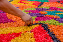 Easter carpets in antigua guatemala. Handmade easter carpets made from colored sawdust fruits and flowers in antigua guatemala royalty free stock photography