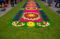 Easter carpets in antigua guatemala. Handmade easter carpets made from colored sawdust fruits and flowers in antigua guatemala stock images