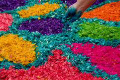 Easter carpets in antigua guatemala. Religious handmade easter carpets made from colored sawdust fruits and flowers in antigua guatemala royalty free stock photography