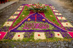 Easter carpets in antigua guatemala. Religious handmade easter carpets made from colored sawdust fruits and flowers in antigua guatemala royalty free stock photo
