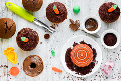 Easter carrot cake decorated with chocolate and carrots of marzi Stock Photos