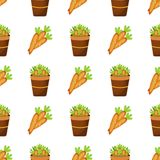 Easter carrot vector cartoon seamless pattern background holiday decoration spring celebration traditional greeting Stock Photography