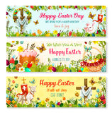 Easter cartoon banner with spring holiday symbols Stock Photo