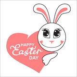 Easter cartoon bunny muzzle with heart Royalty Free Stock Photo