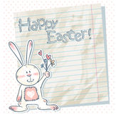 Easter cartoon bunny on a notebook scrap paper. And polka dot background stock illustration