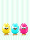 Easter cartoon eggs staying in row with place for text Stock Photos