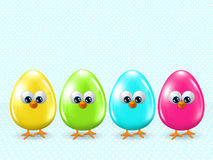 Easter cartoon eggs staying in row with place for text Stock Images