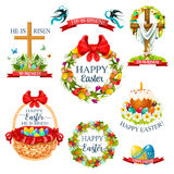 Easter cartoon icon and label set design. Easter cartoon icon and label set. Easter egg, cake, egg hunt basket and crucifix cross, decorated by floral wreath and stock illustration