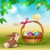 Easter cartoon scene with cute rabbit and chicken. Easter cartoon scene with cute rabbit, chicken and wicker basket full of colorful eggs. Beautiful spring green stock illustration