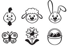 Easter cartoon set Royalty Free Stock Photos