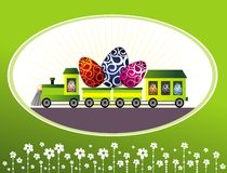 Easter cartoon train with eggs Stock Images
