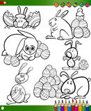 Easter cartoons for coloring book Royalty Free Stock Photo