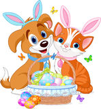 Easter Cat and Dog. Cat and dog near pretty Easter basket full of eggs
