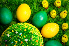 Easter celebrating cake on green grass with yellow toy chickens. Easter celebrating sweet cake decorated with sugar sprinkling on green fress grass with yellow royalty free stock images
