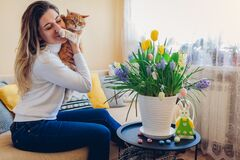 Free Easter Celebration At Home. Woman Hugs Cat Relaxing On Couch. Spring Flowers In Pot Decorated With Eggs And Bunny Royalty Free Stock Photo - 211507585