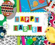 Easter cellebration collage card Stock Photos