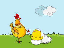 Easter celebration with hen and chicks. Happy Easter celebration with hen, chick and cracked eggs on nature background Stock Photo
