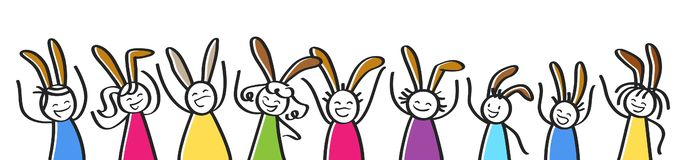 Easter celebration, row of cheering colorful stick people with bunny ears, horizontal banner stock illustration