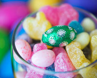 Easter Celebrations: Candies in a Glass Stock Image
