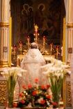 Easter, cerimónia da oração da igreja ortodoxa. Fotos de Stock Royalty Free