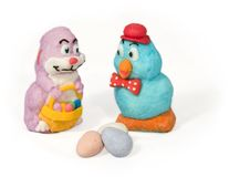 Easter Characters. Candy Easter bunny and duck with Easter eggs Royalty Free Stock Photo