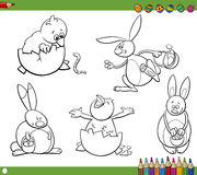 Easter characters coloring book Royalty Free Stock Image