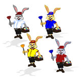 Easter cheerful rabbit plumber. Vector illustration of a rabbit in a shirt and shorts that in one hand holds a plunger and in the second hand he holds a suitcase Stock Photo