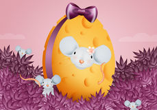 Easter cheese egg with mouse Royalty Free Stock Images